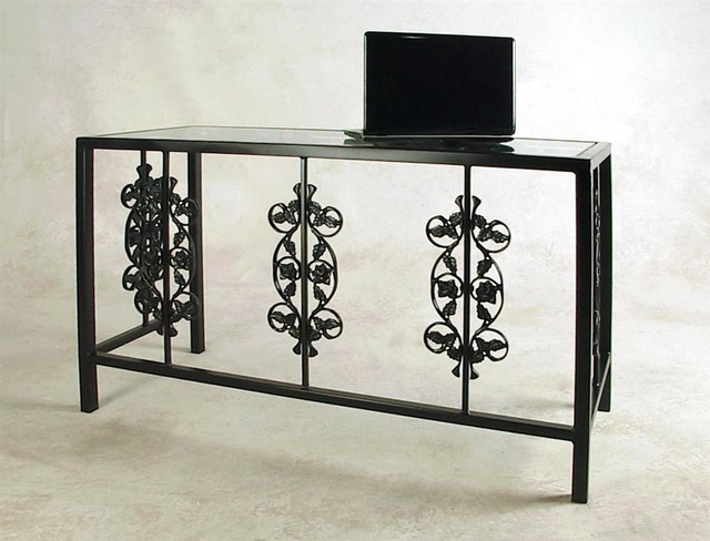 "Wrought Iron Desk/Bar -""Rose Garden"" (w Glass - Contemporary - Desks And Hutches - by ShopLadder"