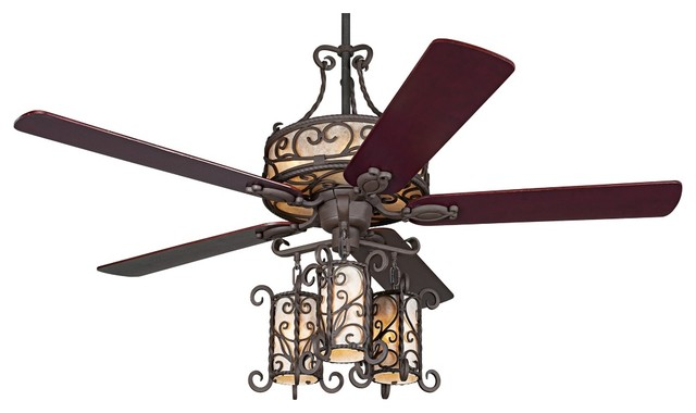 """Country - Cottage 60"""" John Timberland Seville Iron Ceiling Fan With Remote traditional-ceiling-fans"""