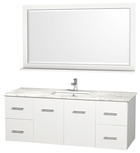 """Wyndham Collection 60"""" Centra White Single Vanity w/ Square Porcelain Sink modern-bathroom-vanities-and-sink-consoles"""