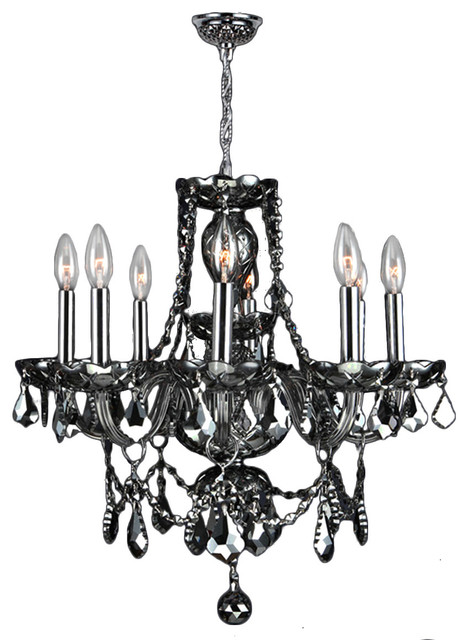 Chrome Finish With Smoke Crystal Chandelier Transitional Chandeliers