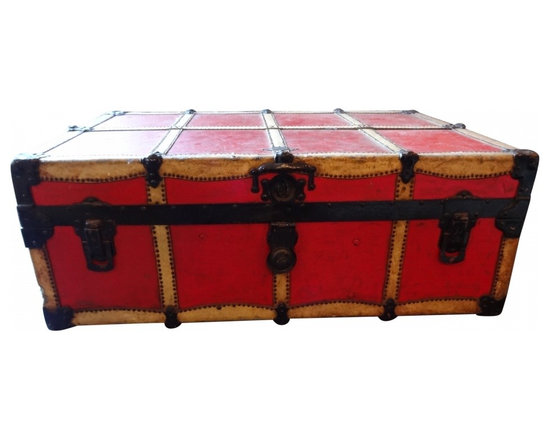 Red Leather Trunk - Offering this amazing red trunk with leather trim and nail head trim.  Would be an amazing coffee table or storage piece in any house.  Love the bright red color and details.  In amazing vintage, antique condition.