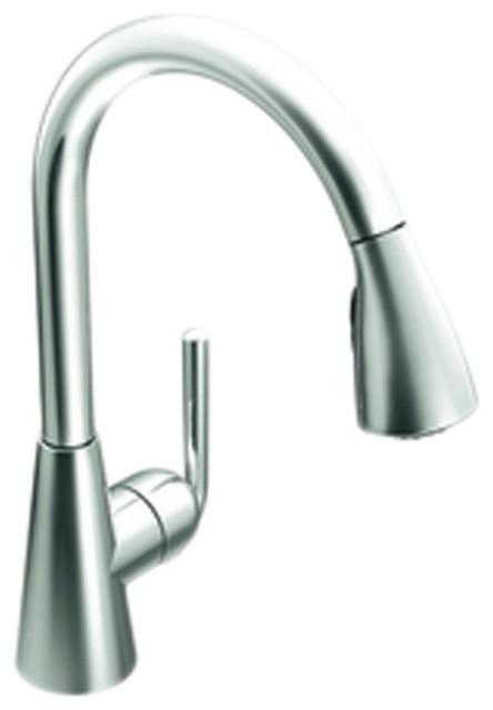 Ascent Matte Black One Handle High Arc Pullout Kitchen Faucet
