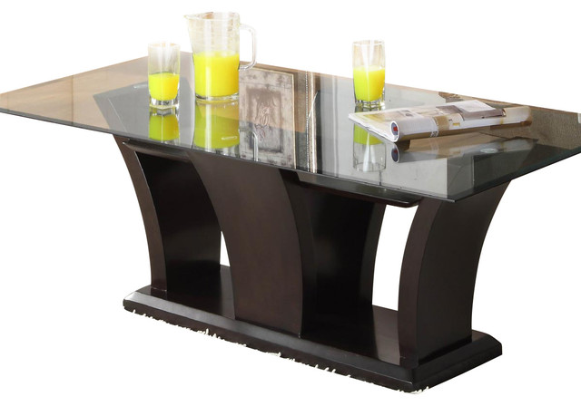 Homelegance Daisy Glass Top Cocktail Table in Espresso traditional-coffee-tables