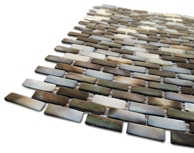 Sample Deep Sea Black Pearl Mini Brick Tile contemporary-tile