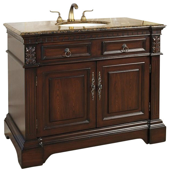 42 Inch Traditional Single Sink Bathroom Vanity Traditional Bathroom Vanities And Sink