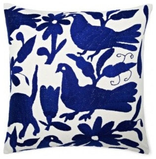 Mexican Hand Embroidered Otomi Blue Pillow contemporary-decorative-pillows