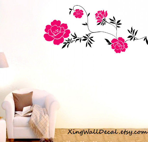 wall stickers red flower wall art wall design wall decals