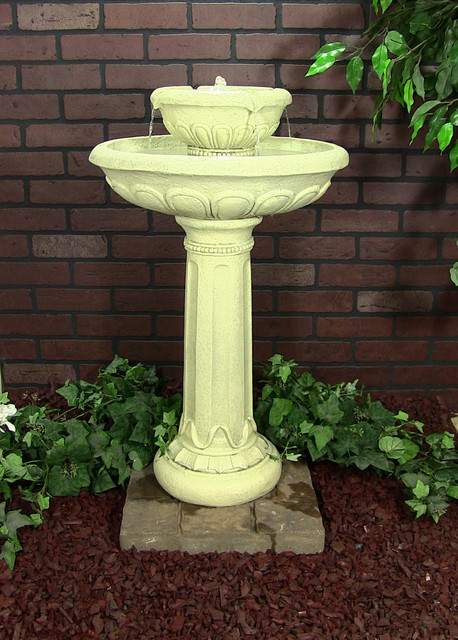 Chelsea Solar on Demand Two Tiered Birdbath Fountain contemporary outdoor fountains