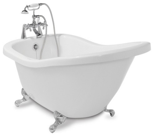 Shop American Bath Factory 59L x 31W White with Chrome Feet Tub at Lowes.com traditional bathtubs