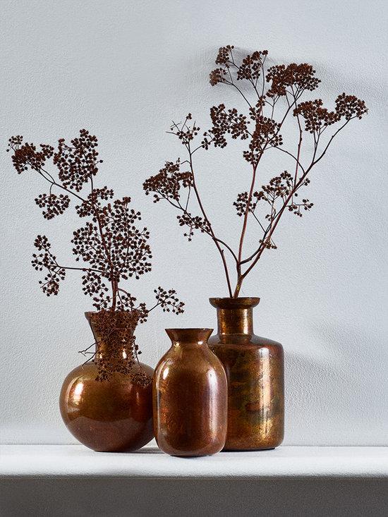Three Burnished Copper Bud Vases -