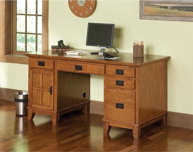 Arts and Crafts Cottage Oak Pedestal Desk contemporary-desks