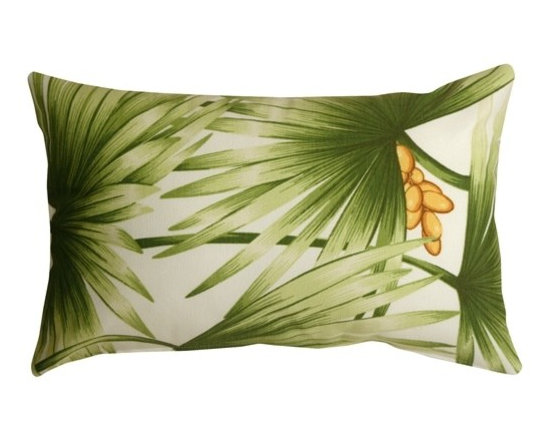 Pillow Decor - Pillow Decor - Palm Leaf 12 x 20 Decorative Pillow - Green palm fronds spread out across this tropical throw pillow. Golden brown coconuts provide a touch of additional color and warmth. Made from a durable cotton blend fabric, this cheerful accent pillows will transport you to a tropical oasis.