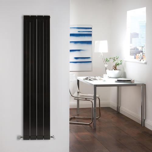 Gloss Black Vertical Double Panel Aluminum Radiator 59 x 12.5 & Valves contemporary-refrigerators-and-freezers