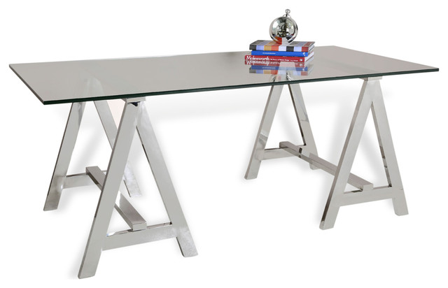 Valeria Contemporary Glass and Steel Sawhorse Desk contemporary-desks-and-hutches
