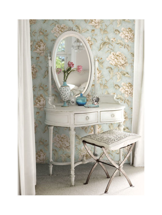 Vintage Wallpaper - Pretty blue floral vintage wallpaper available from Brewster Home Fashions