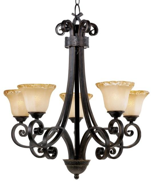 Cordelia Collection Five Light Bronze Chandelier