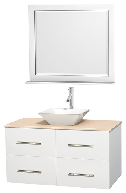 "Centra Bathroom Vanity in White,Marble Top,Pyra White Sink,36"" Mir modern-bathroom-vanities-and-sink-consoles"