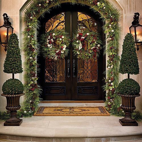 Cone and ball topiary christmas decor traditional for Professional outdoor christmas decorations