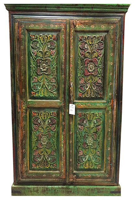 Floral Carved Wood Armoire Hand Painted Cabinet Indian