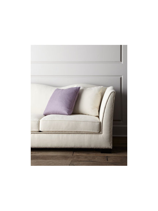 "Bernhardt - Bernhardt ""Kirk"" Sofa - A sofa with a little extra something, this piece features a scalloped design with studded detail for a modern take on classic comfort. Made of select hardwoods with polyester/linen upholstery. Studded trim. Scalloped back. Includes six accent pillow..."
