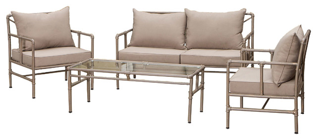 Piepes 4-piece Outdoor Sofa Seating Set industrial-patio-furniture-and-outdoor-furniture