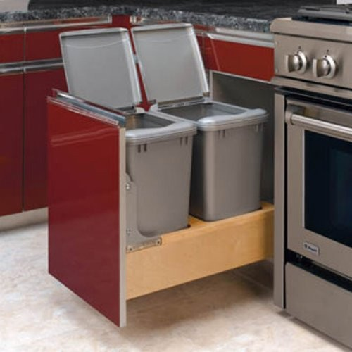 Thanks to the Rev-A-Shelf Double Rev-A-Motion Pull-Out 35-Quart Trash Can and it contemporary kitchen trash cans