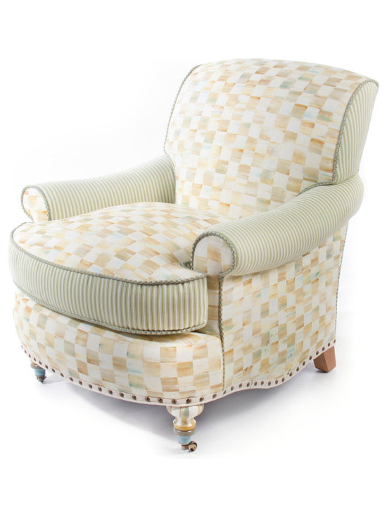 Parchment Check Underpinnings Club Chair | MacKenzie-Childs - Our signature color-dragged checks blend with straightforward, buttoned-up ticking stripes in the Underpinnings Furniture Collection. The rounded shape and generous padding of the Club Chair give it a delicious, indulgent, sink-into-it quality.
