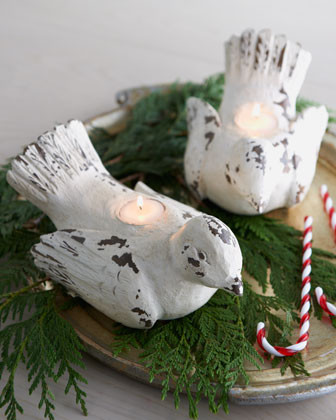 Two Dove Tea Light Holders traditional-holiday-decorations