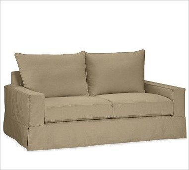 PB Comfort Square Grand Sofa, Polyester Wrap Cushions, Brushed Canvas Sage traditional-sofas