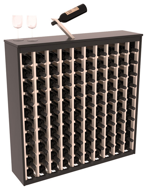 Two Tone 100 Bottle Deluxe Wine Rack in Pine, Black and White Stain + Satin contemporary-wine-racks