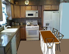 After Kitchen - Island with Barstools floor-plan
