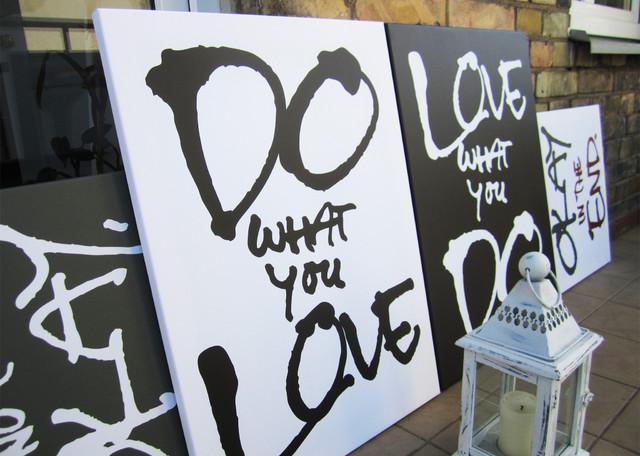 Wall stencil designs living room - Quote On Canvas Contemporary Artwork By Dalius Amp Greta Design