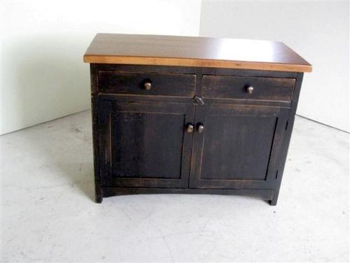 2 Door Antique Style Server With Black Base - Farmhouse ...