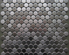 $15.00SF Stainless Steel Penny Round Metal Mosaic Tile contemporary floor tiles
