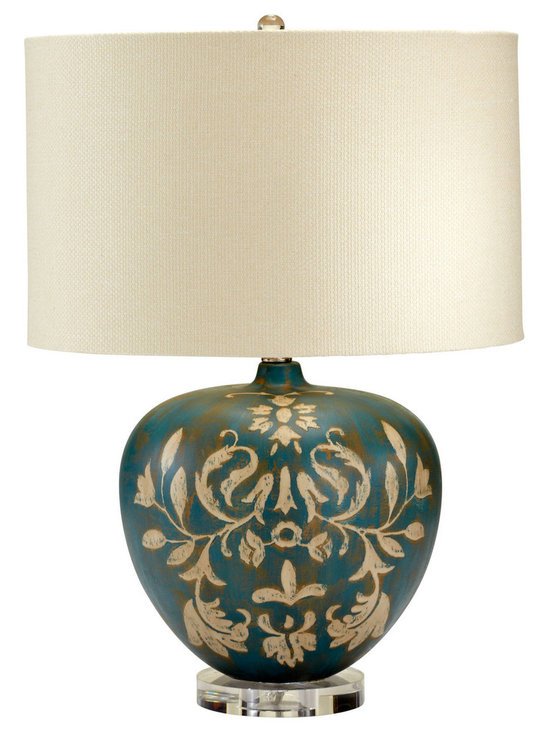 "Cyan Design Cyprus Table Lamp in Tan & Aqua Finish - The Cyan Design Cyprus Table Lamp, with a Tan and Aqua finish, will add a Transitional style to any home's decor! This piece features a Cream Shade. Composed of Wood material. Dimensions: 25 1/2"" High. Measures 17"" in Diameter."