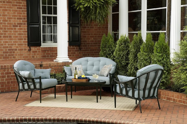 Chandler 4 Piece Outdoor Seating Set Traditional Outdoor Lounge Sets by