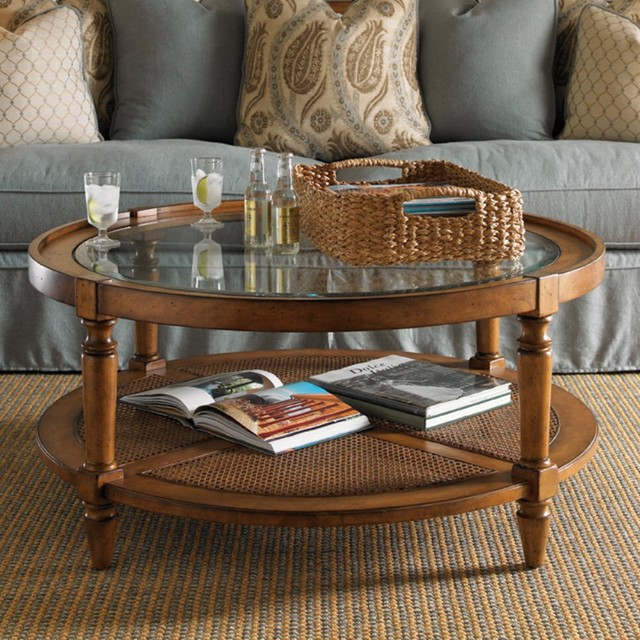 Lexington Twilight Bay Holloway Round Saddle Brown Wood Coffee Table Traditional Coffee