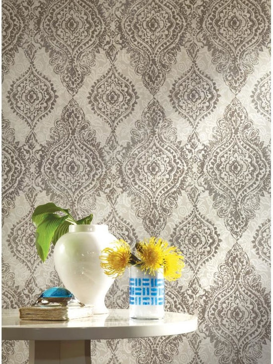 Boho Chic Wallpaper - WallpapHer - This boldly feminine adaptation of traditional damask exists to beautify the home. Large medallions appear to be embroidered on Alencon lace while raised inks add to the illusion. Vibrant colors like cobalt blue, lipstick pink or turquoise against neutral shades add to the depth of the ornate pattern. Coordinate with Primal or Empire.