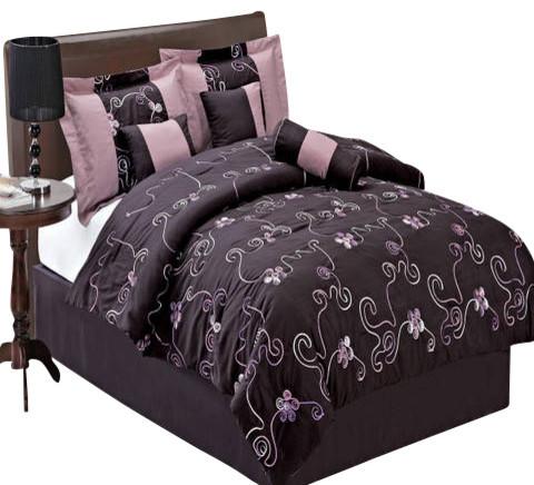 Covington 11 Piece Bed in a Bag Queen Purple modern-bedding