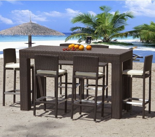 Outdoor Wicker Bar Height Dining Table Pub And