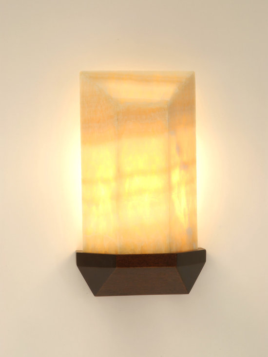 Helayne Wall Sconce - Art | Harrison Collection - Stained mahogany based with faceted onyx shade. Requires one 25 watt tubular bulb with Edison base.