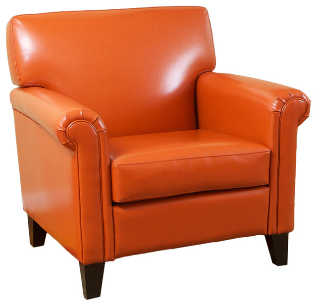 Canton Orange Leather Club Chair - Modern - Armchairs And ...