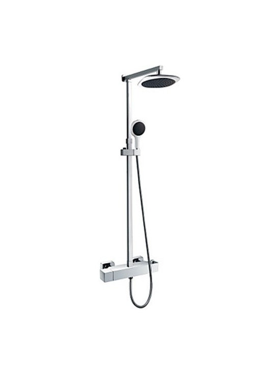Shower Faucets - Wall Mount Contemporary Thermostatic Chrome Finish Shower Faucet with 8 Inch Shower Head and Hand Shower-- FaucetSuperDeal.com