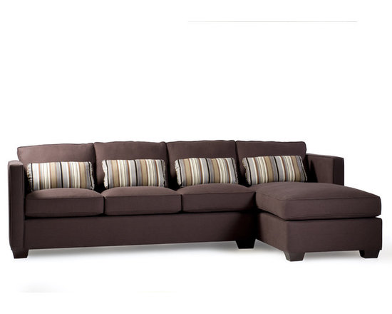 Chaplin Sectional - Chaplin offers any modern fashionista both style and comfort. Shown as a three-seat sofa plus chaise in chocolate brown linen-look fabric, it's also available as a two-seat sofa plus chaise or simply as a sofa. With higher, straight arms, it offers a cleaner and slightly more formal look – a perfect sofa where the arm isn't over-sized, stealing valuable seating space! Its down-wrapped foam seat cushions are ideally suited for long weekend lounging or for special entertaining with friends and family.