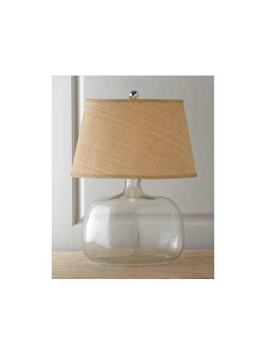 "Regina-Andrew Design - Regina-Andrew Design Seeded Glass Table Lamp - Clean-design table lamp mixes a clear seeded-glass base with slub-woven rattan. Made of clear glass. Woven rattan shade. Uses one 150-watt bulb. 17""W x 13""D x 22.5""T. Imported."