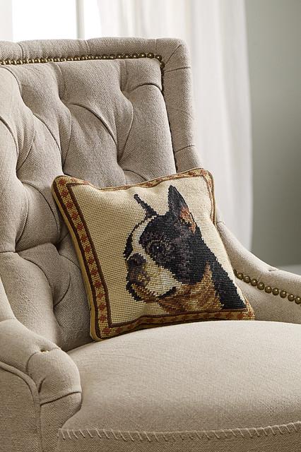 Boston Terrier Aubusson Pillow rustic-decorative-pillows