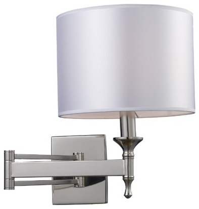 Pembroke One Light Wall Sconce Swing Arm in Polished Nickel modern-wall-lighting