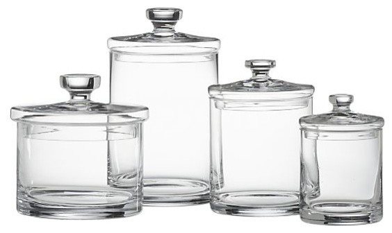 Glass Canisters Set Of 4 Transitional Bathroom Canisters By Crate Barrel
