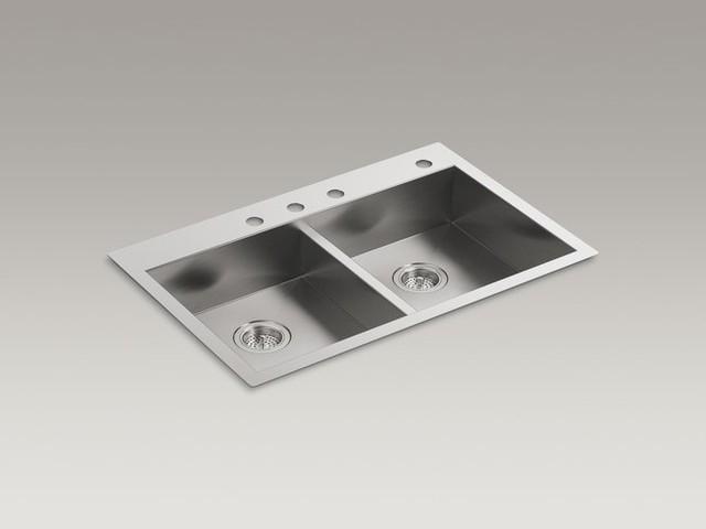 "Kohler K-3996-4-NA Stainless Steel Vault Vault 33"" Double Basin contemporary-kitchen-sinks"