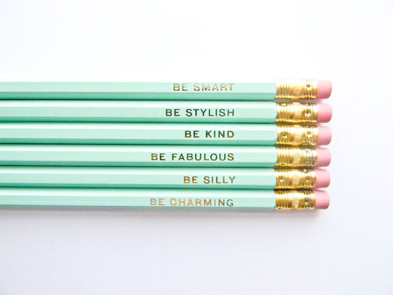 Gentle Reminders Pencils, Mint and Gold by Amanda Catherine Designs, Set of 6 - Contemporary ...